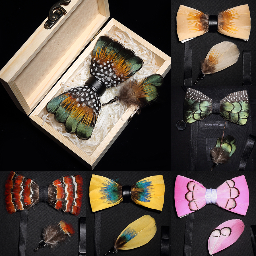 Ricnais New Original Feather Bow Tie Brooch Set White Bule Colorful Handmade Exquisite Bowtie For Men Wedding Ties Gift With Box
