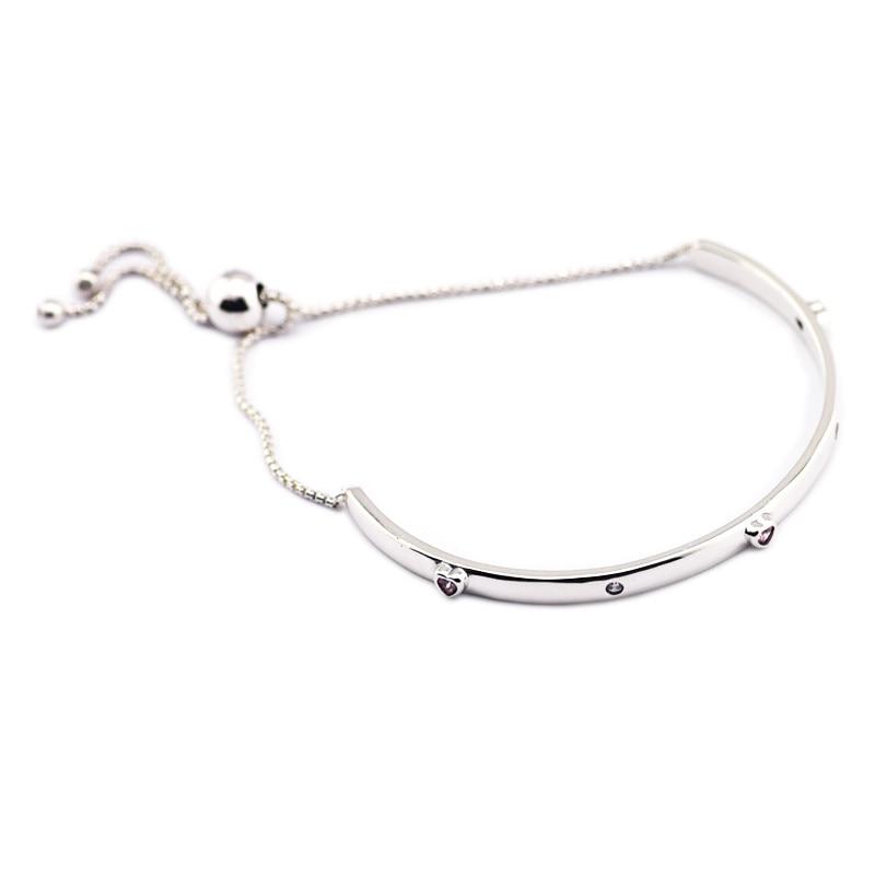Explosion d'amour Bracelets & Bracelets fantaisie rose coeur pierre & clair CZ cristal charmes Bracelets pour femme argent 925 bijoux
