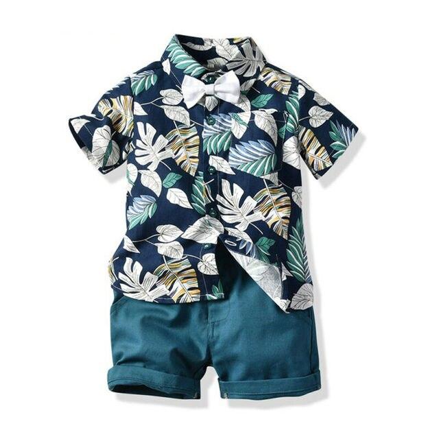 Moda Da Criança Do Bebê Kid Boy 2PCS Outifit Conjunto Folha de Bananeira Impresso Curto T-shirt + Short Calças Sólidos roupas Gentelman Definir