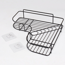 1PC Bathroom Storage Rack Punch Free Corner Shelf Fixtures Wrought Iron Kitchen Tripod Wall