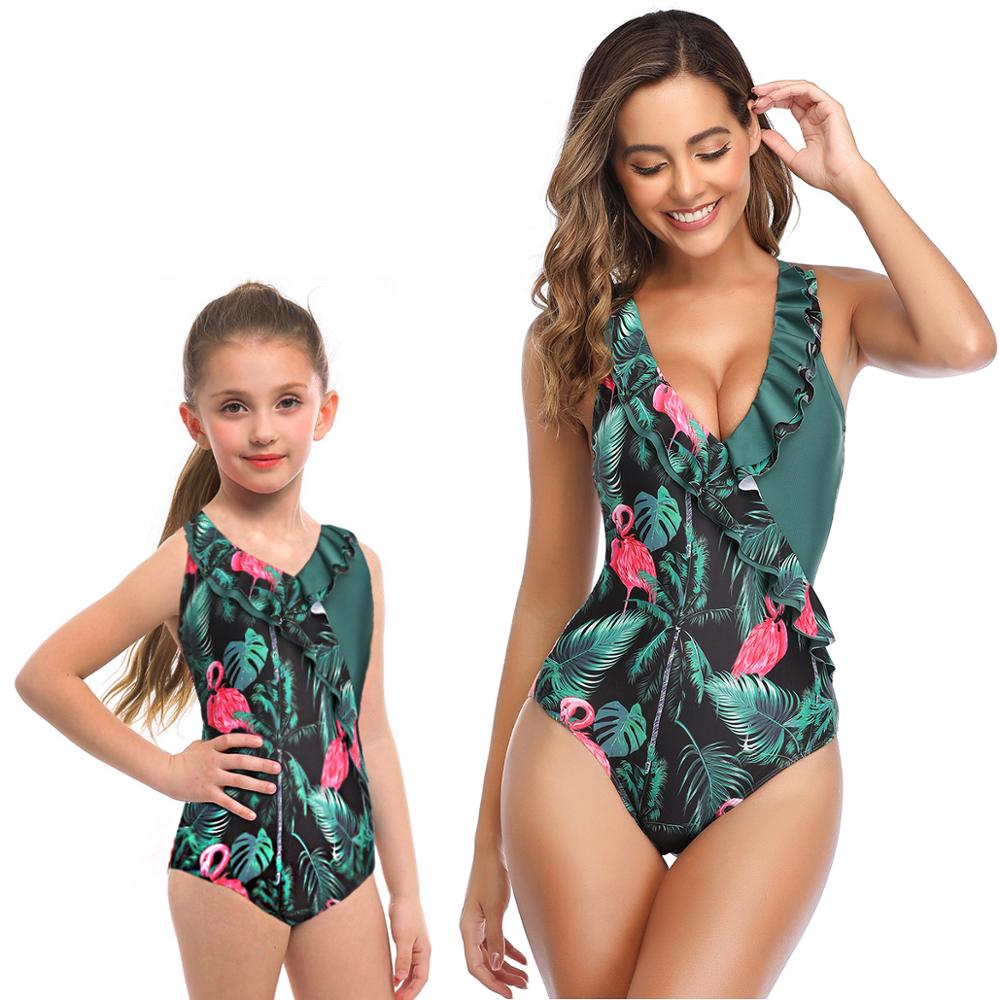 2020 Sexy mother daughter matching swimsuits one piece bikinis for mom and baby girls fashion leaf