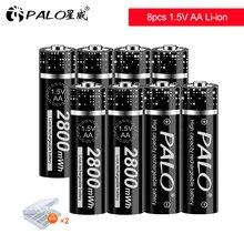 PALO nouveau 1.5V AA Li-ion Batteries rechargeables 2800mWh AA 1.5V lithium Batteria chargeur de batterie pour télécommande jouet flash