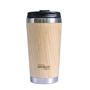 400MLTrave Coffee Mugs Double Wall Bamboo Stainless Steel Cup Coffee Drink Bottle Flask Bambu Gift Water Mugs