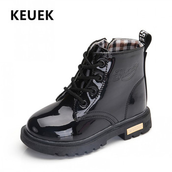 NEW 2021 Girls Leather Boots Boys Shoes Spring Autumn PU Leather Children Boots Fashion Toddler Kids Boots Warm Winter Boots 3BB