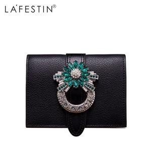Image 1 - Marca LAFESTIN, Cartera de lujo de diseñador con diamantes, monedero corto, titular de la tarjeta femenina, monederos, billeteras, cartera femenina