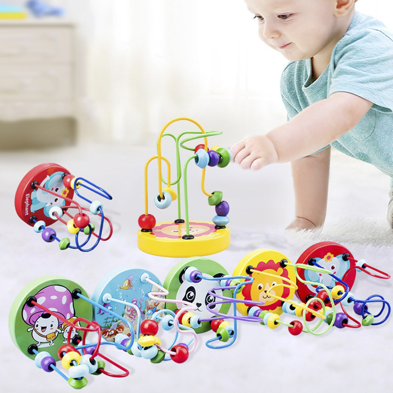Boys Girls Montessori Wooden Toys Wooden Mini Circles Beaded Beads Wire Maze Roller Coaster Educational Puzzles Kids Baby Toy
