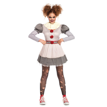 Umorden IT Movie Pennywise Cosplay Creepy Clown Costume for Women Teen Girls Halloween Carnival Party Dress umorden police officer cops costume for adult women men teen girls policeman uniform halloween carnival mardi gras party dress