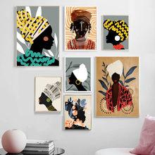 Toile d'art mural de Style National africain, fille, affiches et imprimés nordiques abstraits, images murales pour Salon, Salon, Club