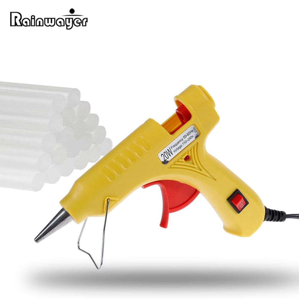 20W Hot Glue Gun with Glue Stick 7x200mm Glue Stick Mini Electric Gun Temp Heater Melt Graft Repair Tool Heat Temperature Tool