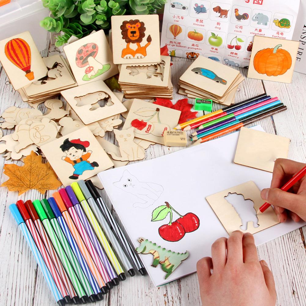 Children Drawing Template Boards Wooden Graffiti Interactive Educational Toys