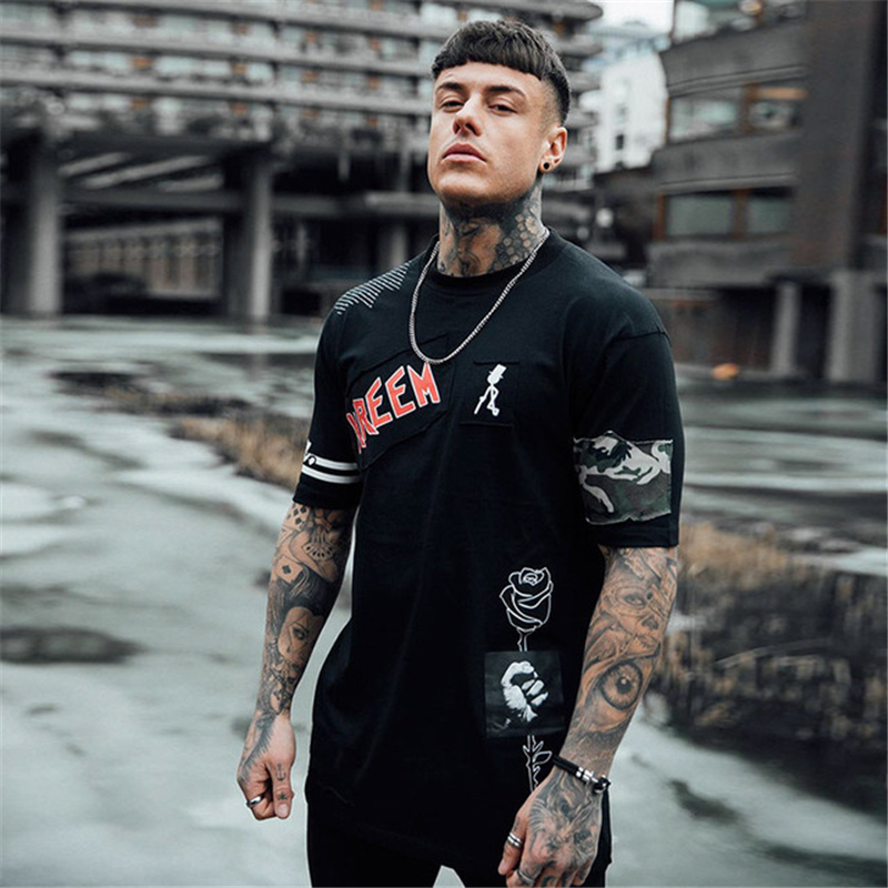 Men's Punk Hip-hop Style Shirts Summer Cool Smooth Cotton Skin Friendly Funny Prints Street Trendy Tee Tops Camiseta EU Size