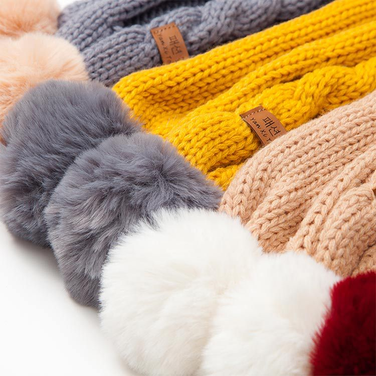 Children's Knit Autumn And Winter Warm And Comfortable Solid Color Scarf Boys Girls Universal Raccoon Fur Pom-pom Kids Scarves
