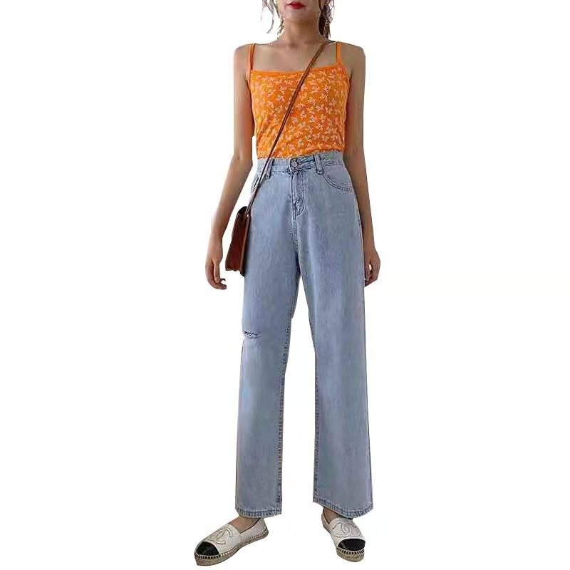 NORMOV Autumn High Waist Straight Jeans Women Vintage Loose Jean Bleached Wide Leg Pants Oversize Jeans Female Hole Pocket Jeans