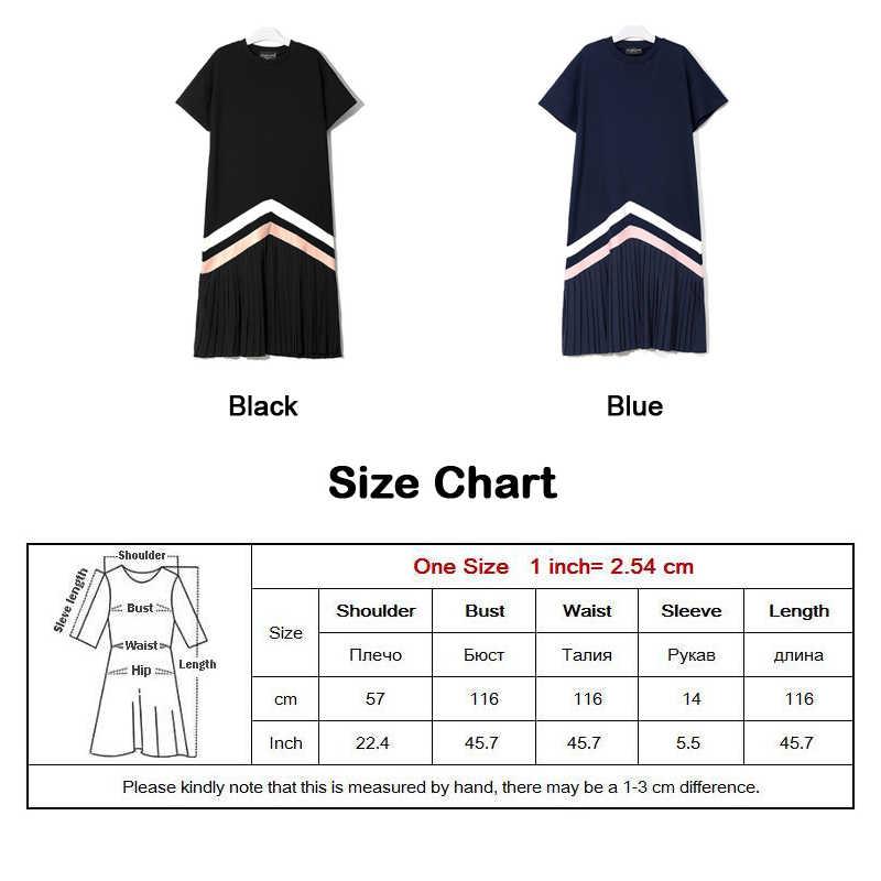 Новинка 2019, летнее женское черное и синее длинное плиссированное платье, женское милое повседневное платье большого размера в полоску и с коротким рукавом, женское платье, стиль 3412