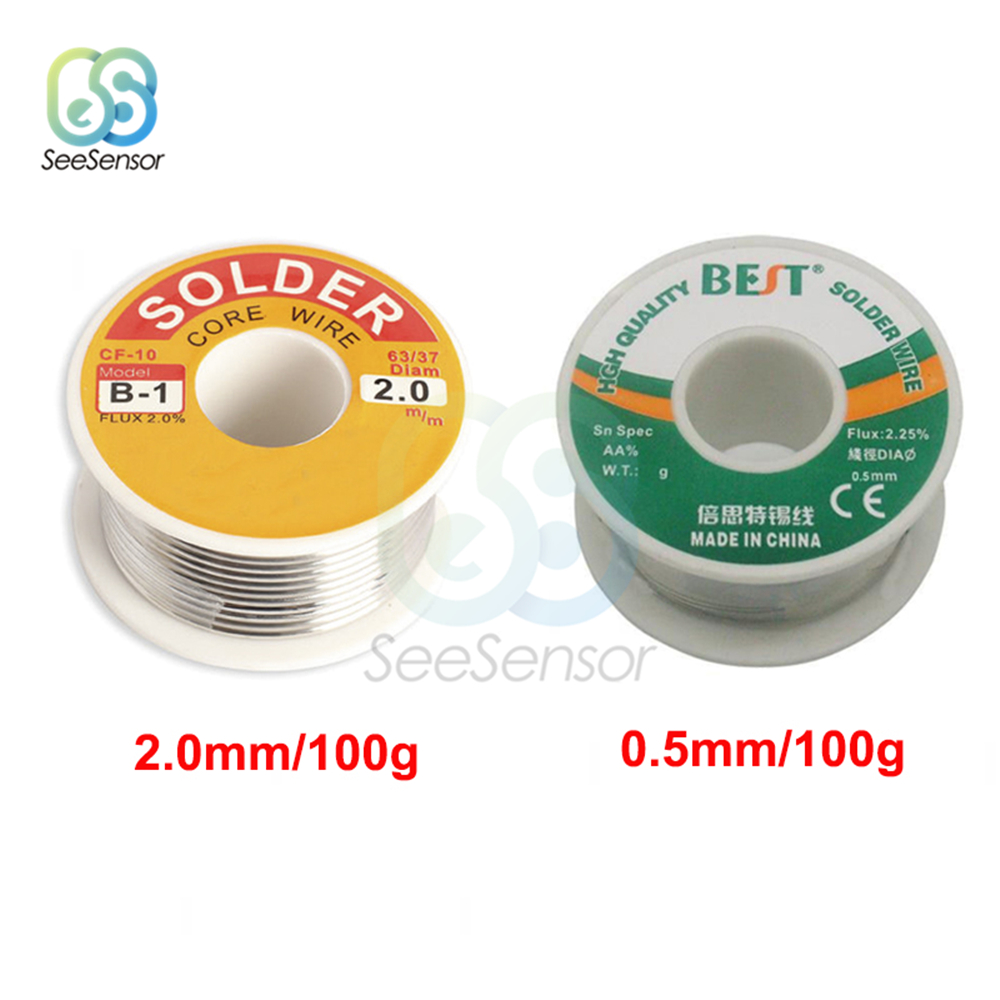 100g 0.5mm 2.0mm 63/37 FLUX 2.0% / 2.25% 45FT Tin Lead Tin Wire Melt Rosin Core Solder Soldering Wire Roll Welding Line