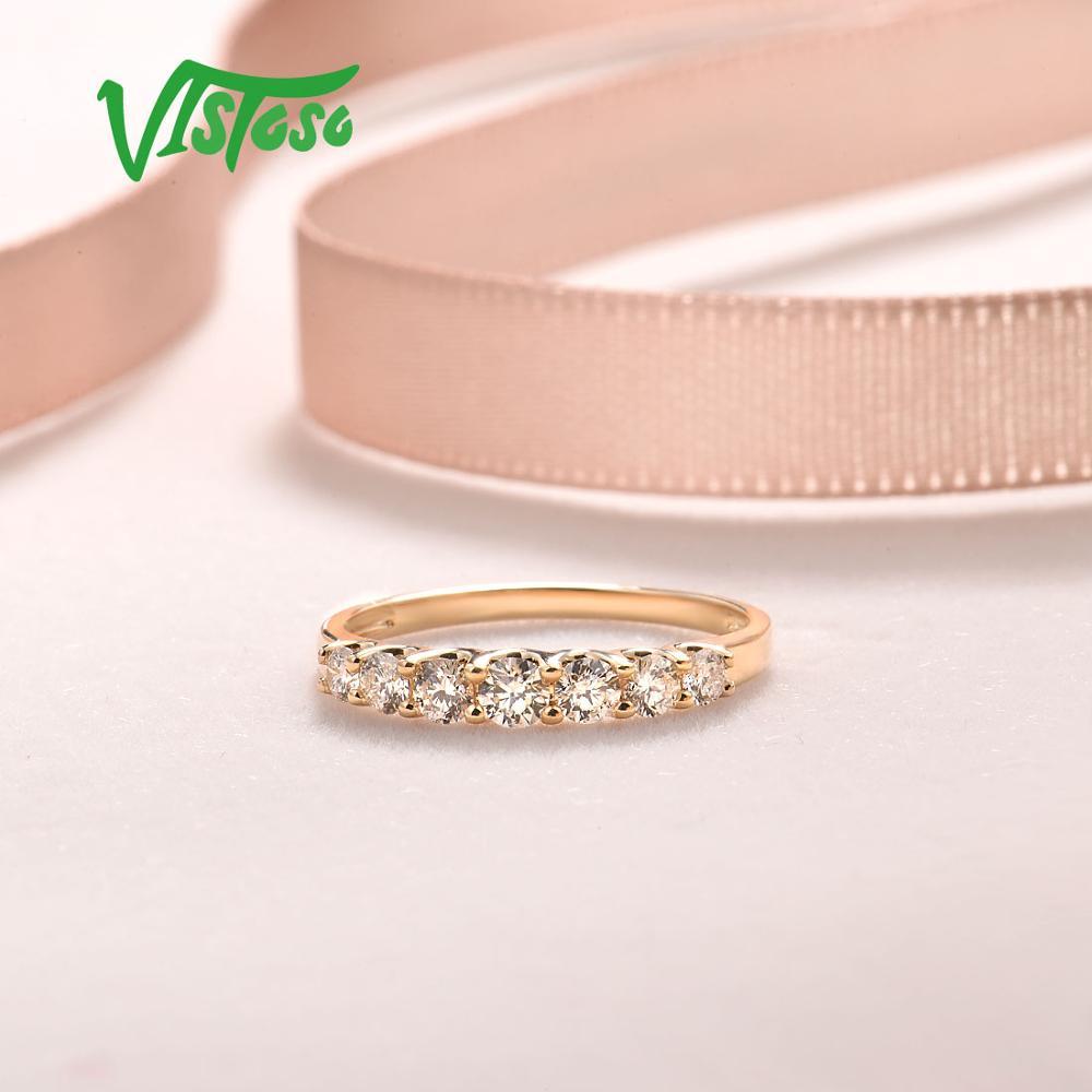VISTOSO pur 14K 585 bague en or jaune pour les femmes véritable étincelant diamant bague promesse bagues de fiançailles anniversaire beaux bijoux - 5
