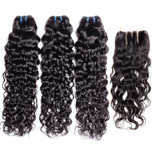 Water Wave Bundles with Closure Maxine Remy Hair Weave 3 Bundles With Lace Closure Wet and Wavy Human Hair Extensions(China)