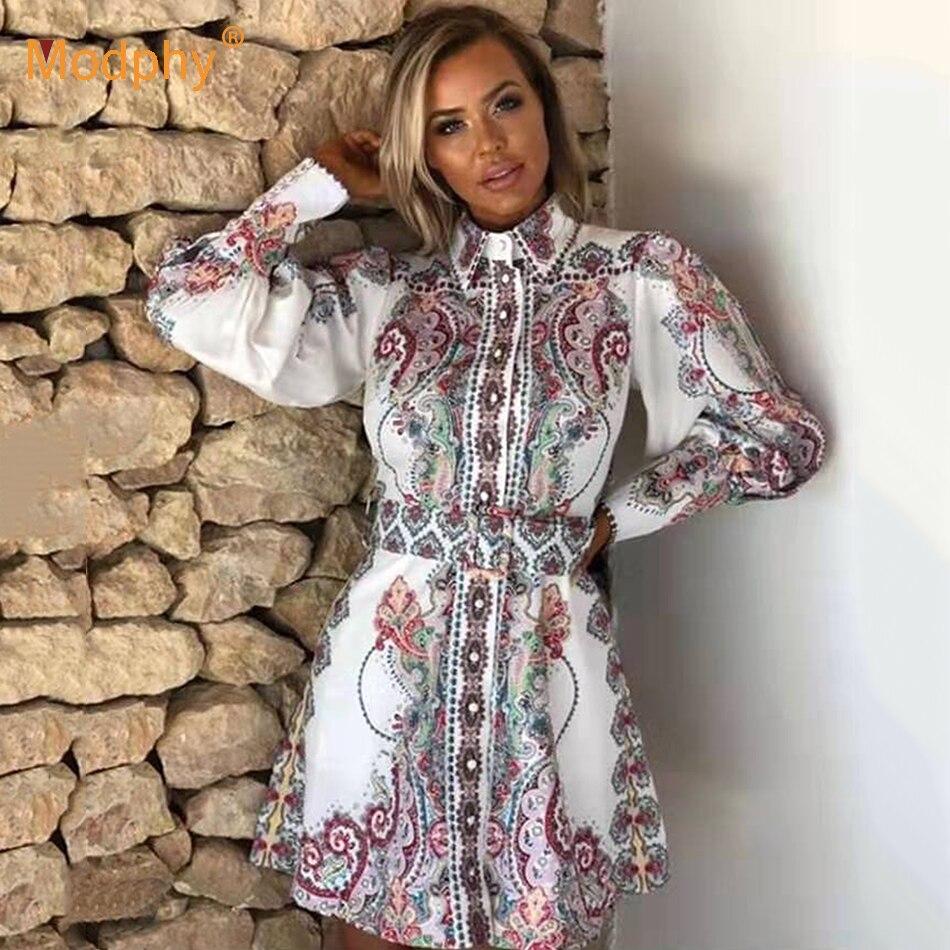 Manches longues chemise robe 2019 été nouvelle lanterne manches Vintage imprimé robe décontracté un mot Mini robe de soirée Vestidos