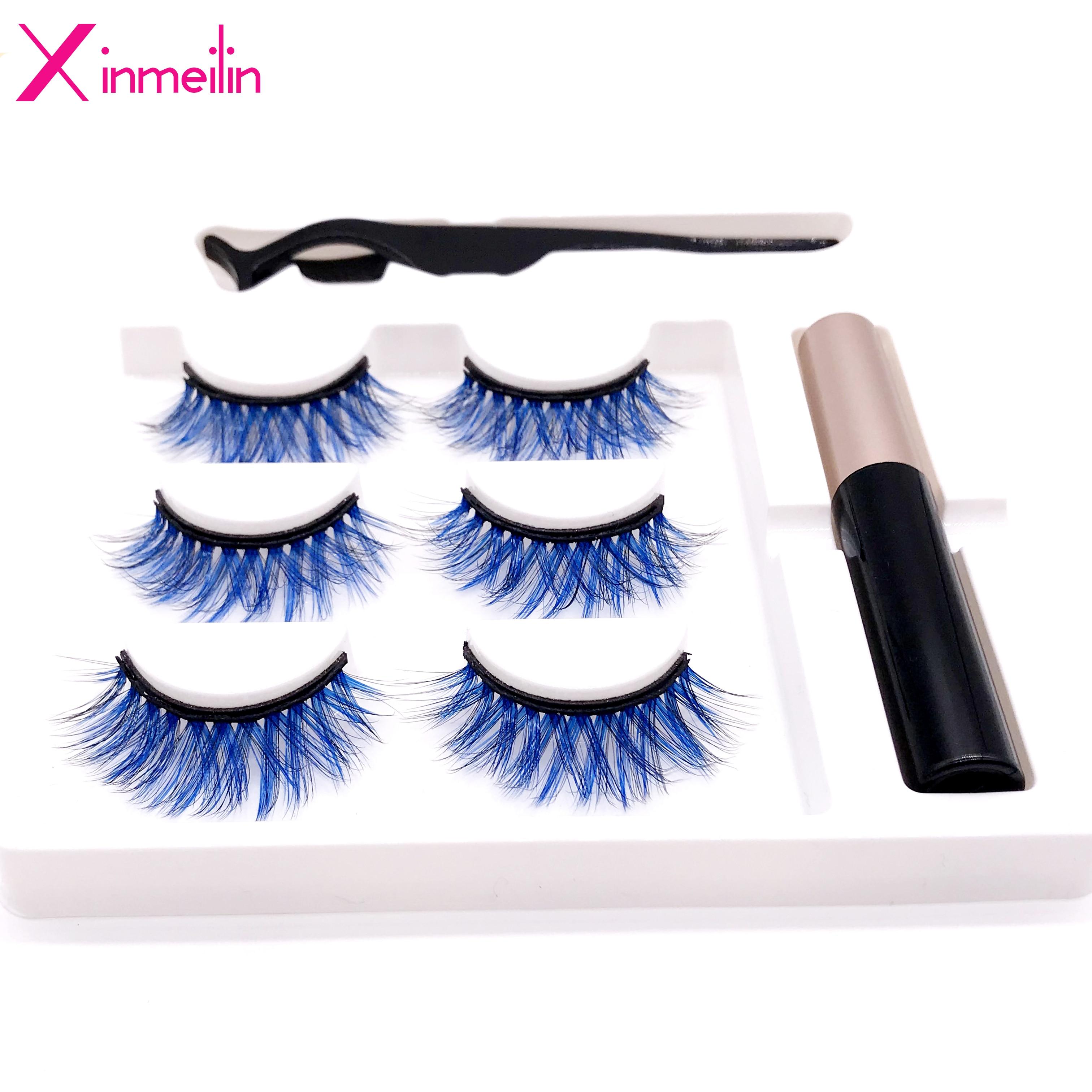 New 3D 3 Pairs Gradient Color Magnet Fake Eyelash Set Multicolor Optional Waterproof Long Lasting Magnetic Eyelash Extension Kit