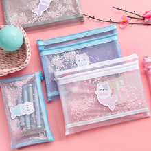 Transparent Mesh Pencil Case Cat Pen Box Office Student Cases for School Supply Double Zipper Nylon Bag Stationery