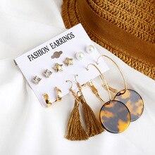 2019 Brincos Bohemian Long Tassel Earrings Set For Women Geometric Leopard Print Acrylic Drop Earring Set Female Fashion Jewelry цена