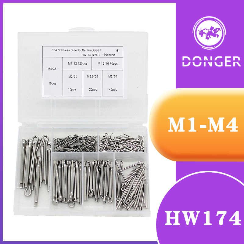 M6 120Pcs 16 Kinds 304 Stainless Steel Split-Cotter Pins Assortment Kit M1
