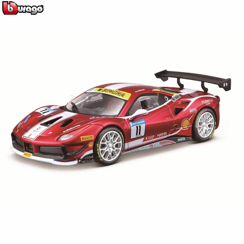 Bburago 1:24 Ferrari 488 Challenge 2017 Track Version Car Model Children Toy Boyfriend Gift Simulated Alloy Car Collection