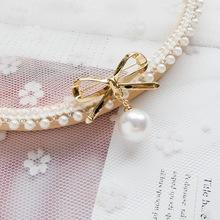 Koreański styl kreatywny moda damska anty-ekspozycji opaski na głowę z kokardką i perełką broszka proste stałe spodnie na szelkach antypoślizgowa agrafka tanie tanio