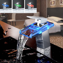 цена на Advanced Modern LED glass waterfall Brass Basin Faucet Polished Bathroom Mixer Tap Deck Mounted basin sink Mixer Tap XP-009