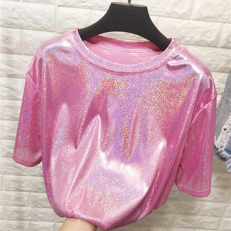 B3890 2020 Sommer neue frauen mode beiläufige lose rundhals und sparkly reflektierende kurzen ärmeln T-shirt trend günstige großhandel