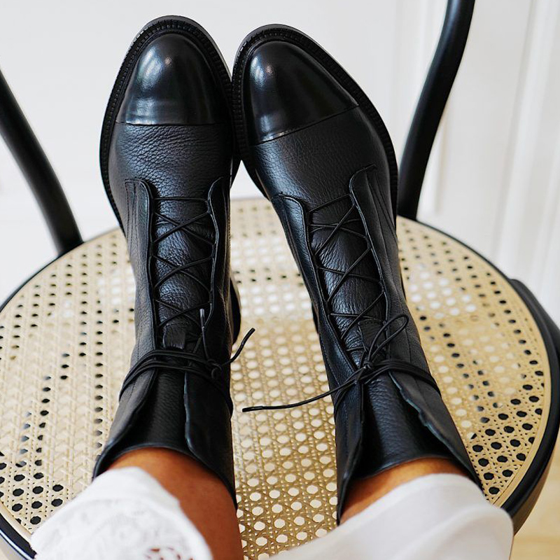 Boots Punk Low Heel Boot Shoes Women