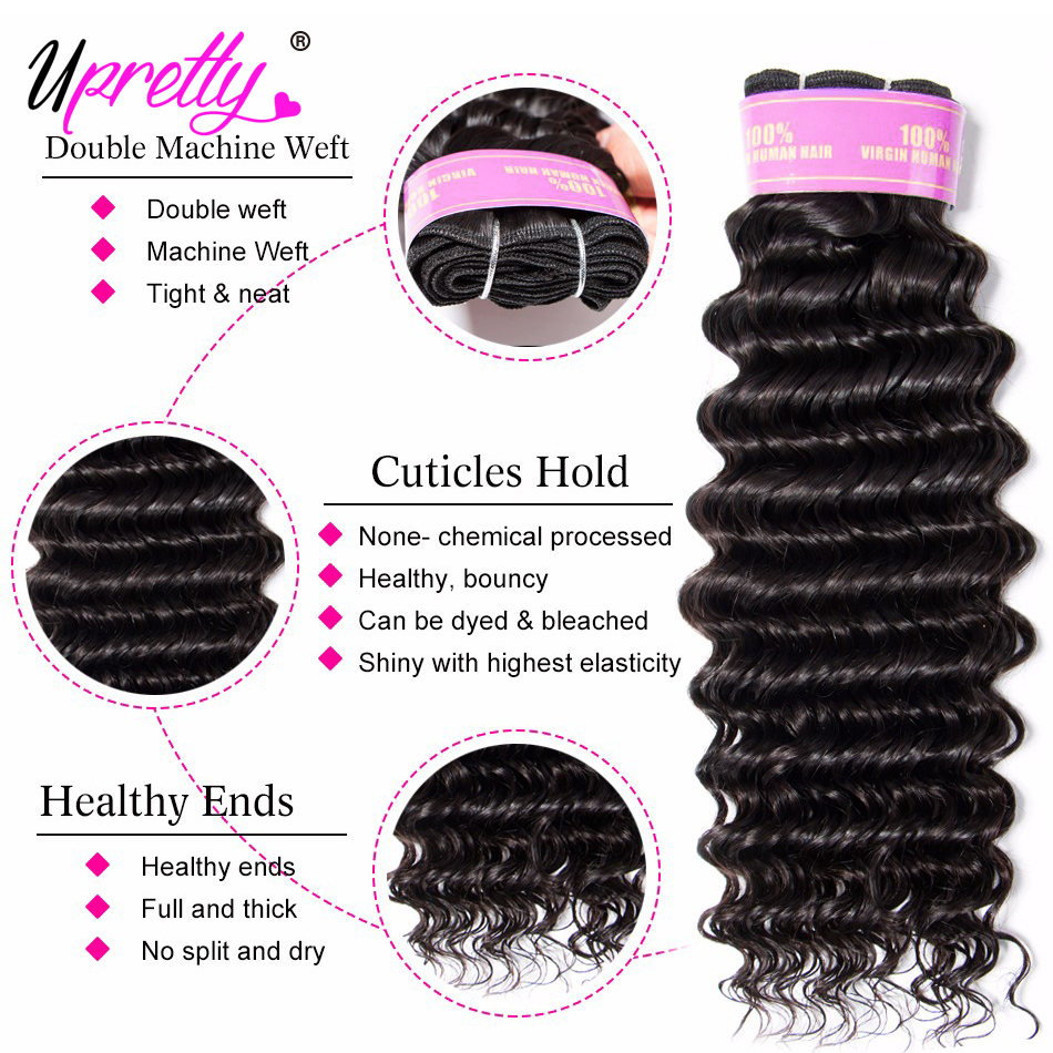 H305a7ea5ee8f44d7b38760059e67439b2 Upretty Hair Brazilian Hair Weave Bundles With Closure 3 Bundle With Lace Closure Remy Human Hair Deep Wave Bundles With Closure