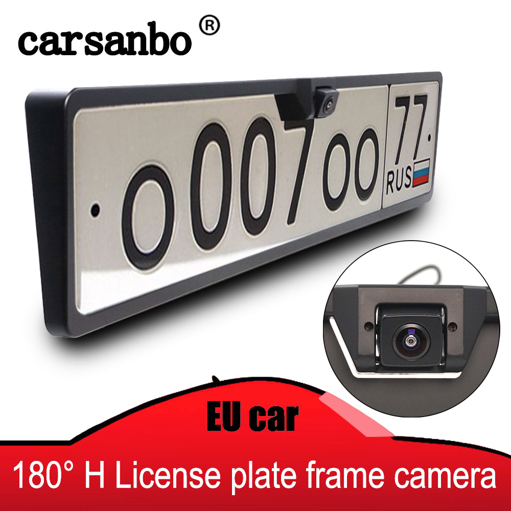 Car Rearview Camera EU License Plate Frame HD Night Vision 180 Degree Cam With 2.4G Wireless Transmitter And Receiver Optional