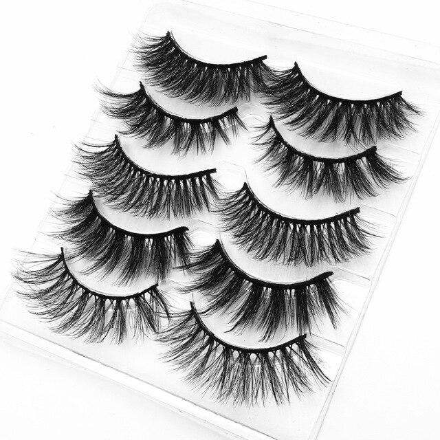 Mink eyelashes 5 pairs of handmade 3d mink lashes natural eyelashes extended beauty makeup false eyelashes 2