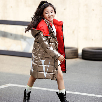 New Style Bright Surface Children's down Jacket Mid-length Thickening Large Fur Collar Korean-style Baby Girls Coat