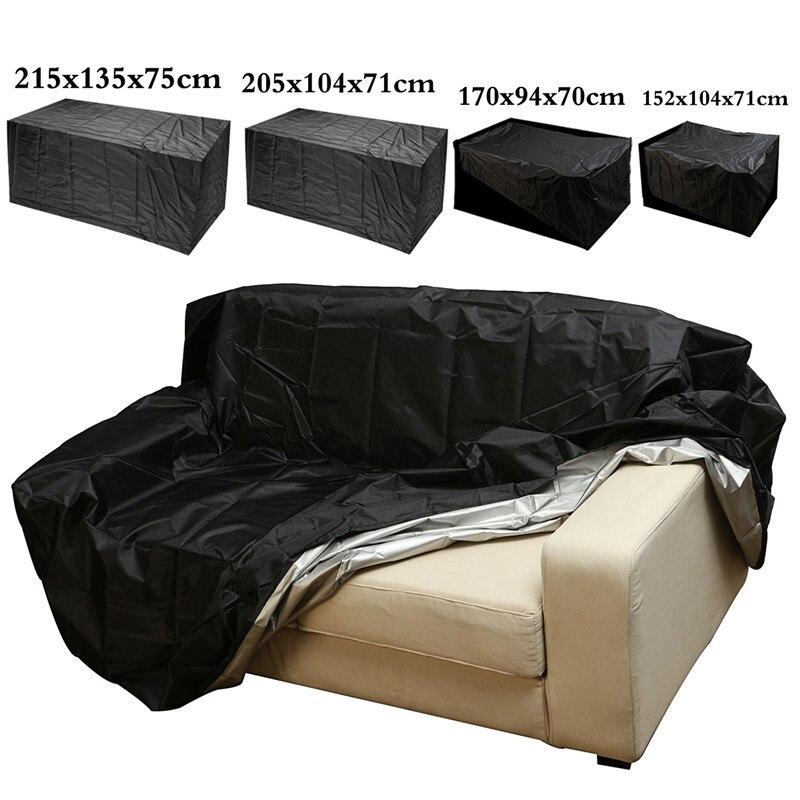 Cubierta impermeable de la lluvia de los muebles del jardín al aire libre juego de la protección del sofá de mimbre de Oxford cubierta negra a prueba de polvo de la lluvia del Patio del jardín