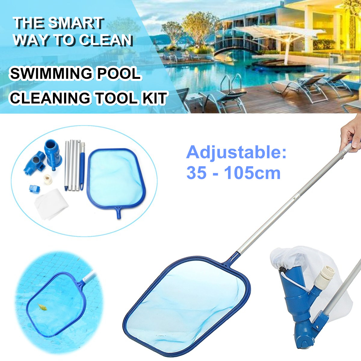 Swimming Pool Vacuum Cleaning Tool Professional Pool Cleaning Net Set Suction Head Cleaning Net Kit Pool Cleaners Accessories