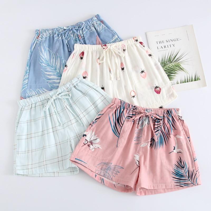 Women Sleep Bottoms 100% Cotton Double Gauze Home Pajama Pants Summer Casual Beach Pants Sleep Wear Lounge Pajama Shorts