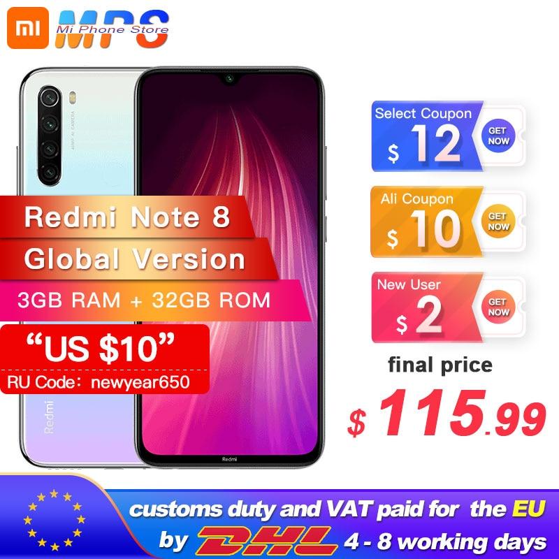 "Global Version Xiaomi Redmi Note 8 32GB 3GB Snapdragon 665 Octa Core Smartphone 6.3"" 48MP Quad Rear Camera MobilePhone 4000mAh"