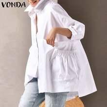 Camisas de escritório 2021 vonda casual turn down neck manga comprida blusas sólidas elegantes topos femininos casuais boêmio S-5XL topos
