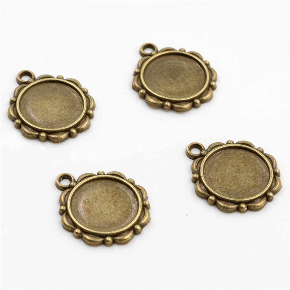 15pcs 14mm Inner Size Antique Bronze And Silver ,Rose Gold  Black Flower Style Cabochon Base Cameo Setting Charms Pendant