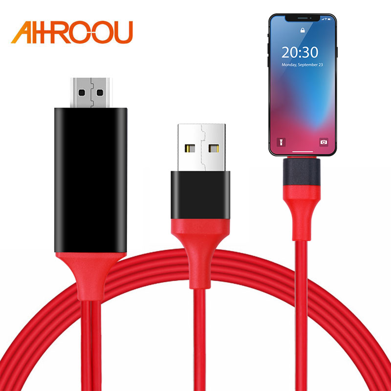 AHHROOU 1.8M 8 Pin To HDMI Male Cable HD 1080P HDMI Converter Adapter Cable USB Cable For HDTV TV Digital AV For IPhone For IOS
