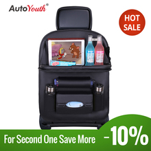 PU Car Seat Protector Backseat Organizer with Tablet Holder and Foldable Tray Durable Quality Travel Accessories Organizer