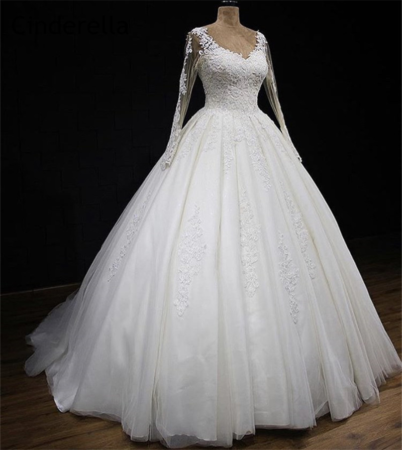 Elegant V-Neck Long Sleeves Court Train Lace Applique Tulle Wedding Dresses With Lace Up Back Ivory Color Lace Bride Gowns