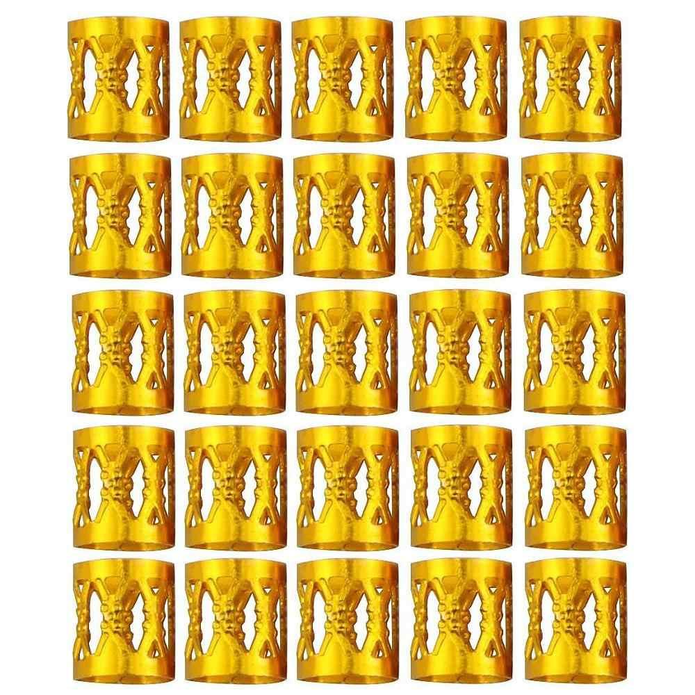 80/90/100 piezas hoja estrella oro pelo trenza Dreadlocks cuentas anillos/puños Diy pinza de pelo pelo esposas tubo temor encanto Dreadlock