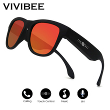 VIVIBEE Square Frame Polarized Blue Mirror Lens Men Music Sunglasses Summer 2019 Polarizing Bone Conduction Audio Eyewear
