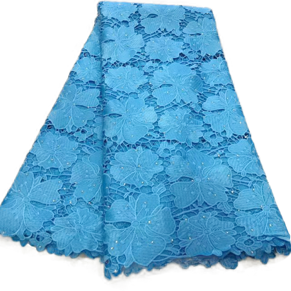 5 Yards Tulle French Lace Fabric With Rhinestones Guipure Cord African Lace 2019 High Quality Swiss Voile Water Soluble Lace