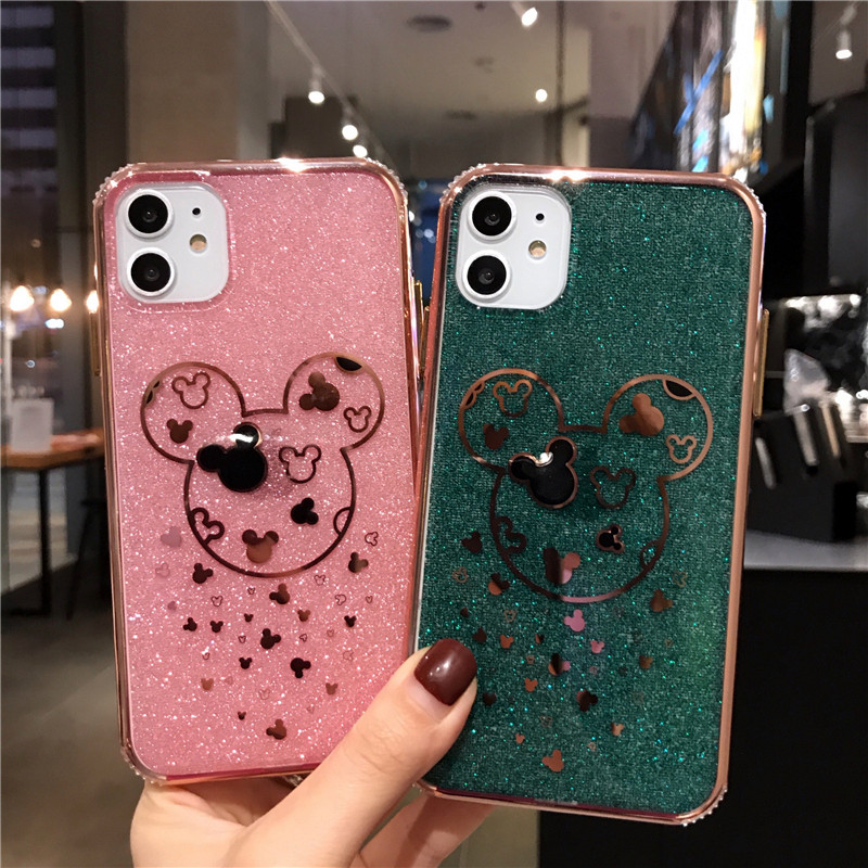 Fashion Bling Glitter Mickey Phone Case For iPhone 11 6 6s 7 8 Plus X XR 11 Pro XS Max Soft Edge Shockproof Back Cover Capa