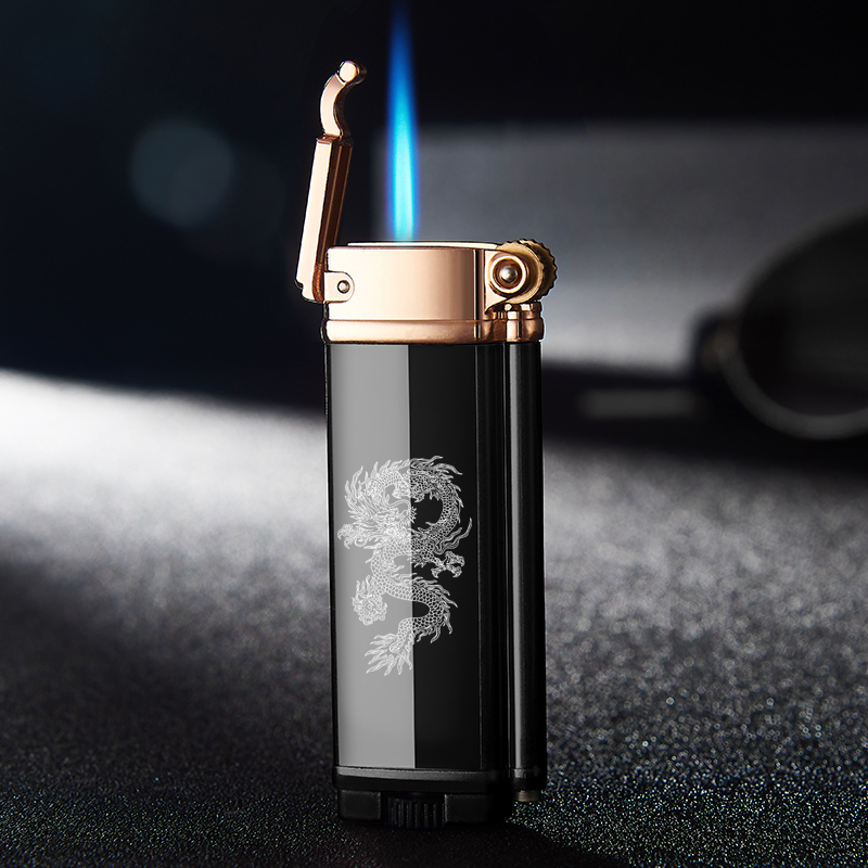 Inflatable Lighter Windproof Straight Blue Flame Cigar Creative Metal Lighter Cigarette Accessories