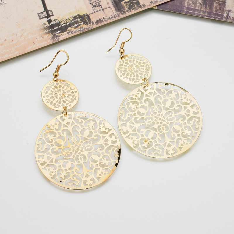 VOHE Vintage Fashion Hollow Flowers Circle Earrings For Women Luxurious Gold Color Drop Earring Gifts